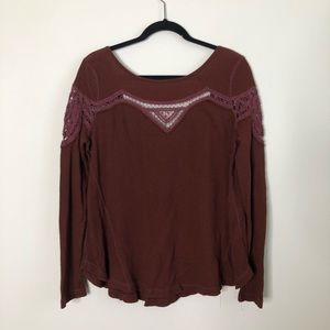 Free People waffle knit crochet trim swing top